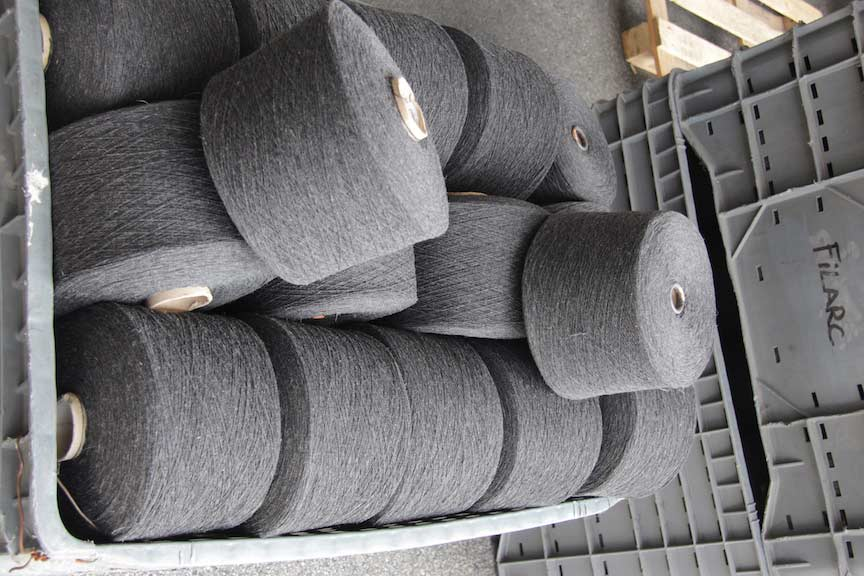 cones of recycled yarn.